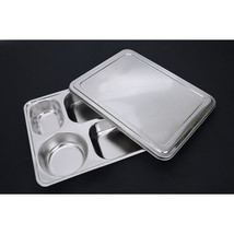 plate snack square stainless steel sub-grid covered five grid fourfold r... - $40.37