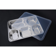 plate snack square stainless steel sub-grid covered five grid fourfold r... - $35.62