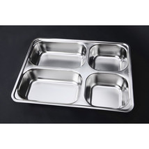 plate snack square stainless steel sub-grid covered five grid fourfold r... - $28.49