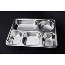 plate snack square stainless steel sub-grid covered five grid fourfold r... - $30.87