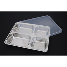 plate snack square stainless steel sub-grid covered five grid fourfold r... - $33.24