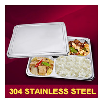 plate snack square stainless steel sub-grid covered five grid fourfold r... - $37.99