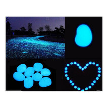 100pcs Hot Man-Made Glow in the Dark Pebbles Stone for Garden Walkway  Blue - $16.14