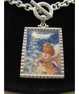 Christmas Angel Silvertone Toggle Pendant New - $12.00