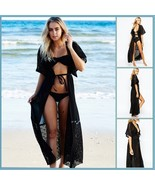 Long Lace Beach Cardigan Robe Open or Tie Front Beach Cover Up Maxi Dress - £30.56 GBP