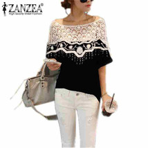 Women's Blouses, Shirts S-5XL N Hollow Crochet Shawl Collar Lace - $24.99