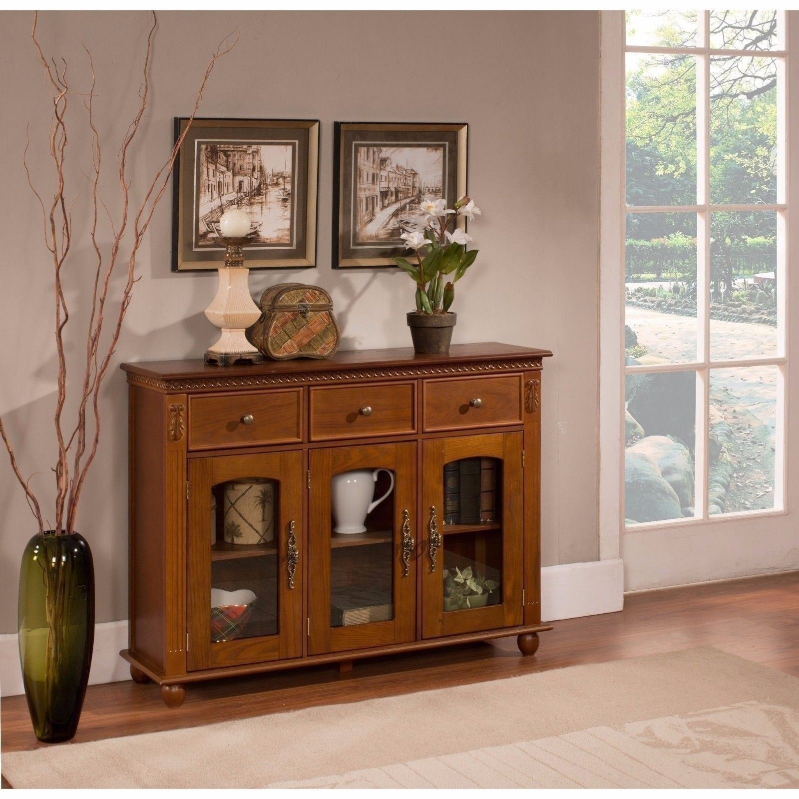 NEW Walnut Console Table Entryway Wood 3 Drawers Doors