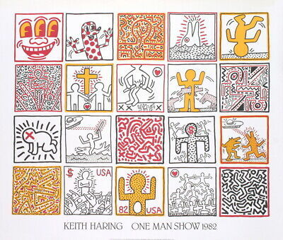 "Primary image for KEITH HARING One Man Show 33.5"" x 39.25"" Poster 1986 Pop Art"