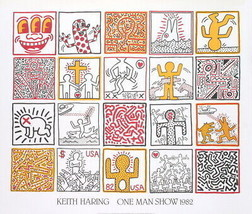 "KEITH HARING One Man Show 33.5"" x 39.25"" Poster 1986 Pop Art - $594.00"