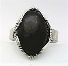 Black Onyx Stainless Steel Wire Wrap Gemstone Ring 8 - $15.82