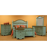 Turquoise Grand Bedroom Set King Queen Real Solid Wood Rustic Western Cabin - $3,955.05+