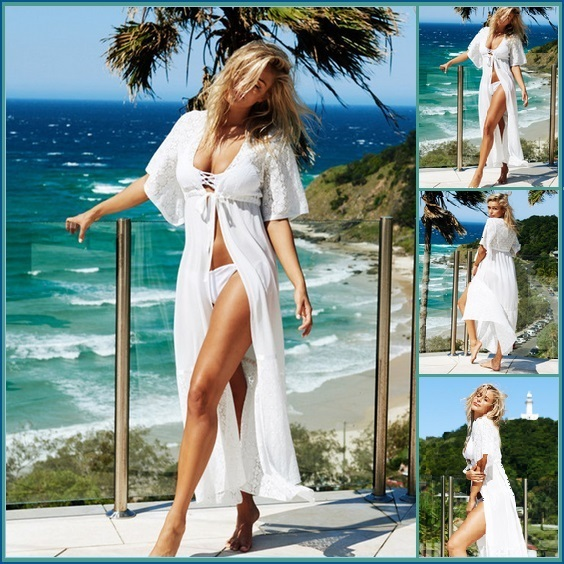 Long Lace Beach Cardigan Robe Open or Tie Front Beach Cover Up Maxi Dress