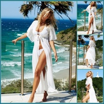 Long Lace Beach Cardigan Robe Open or Tie Front Beach Cover Up Maxi Dress image 2