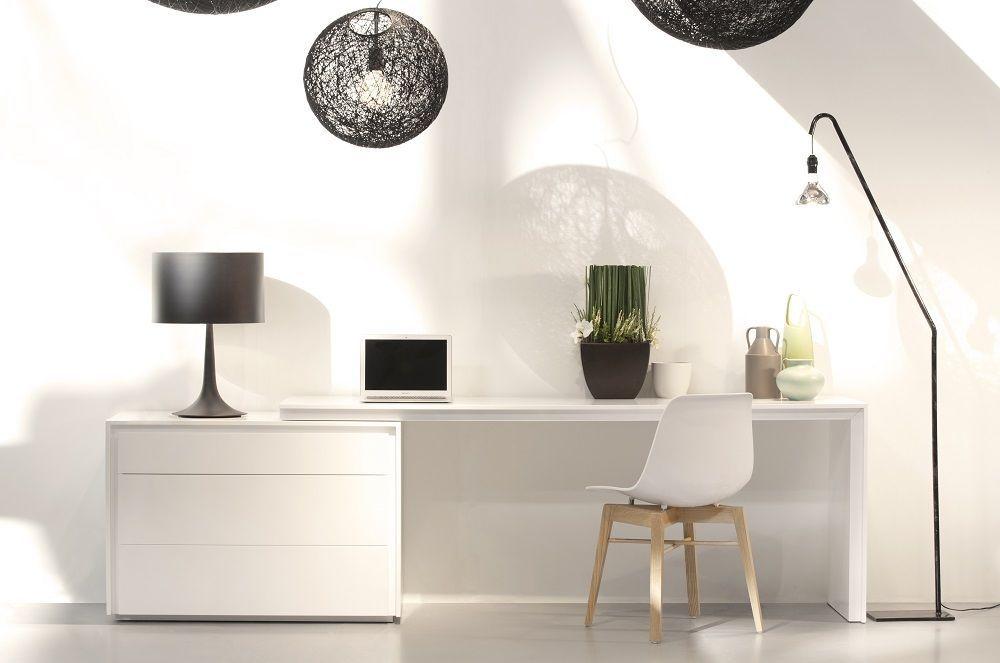 J&M Trend White Gloss Office Desk Chick Modern Style