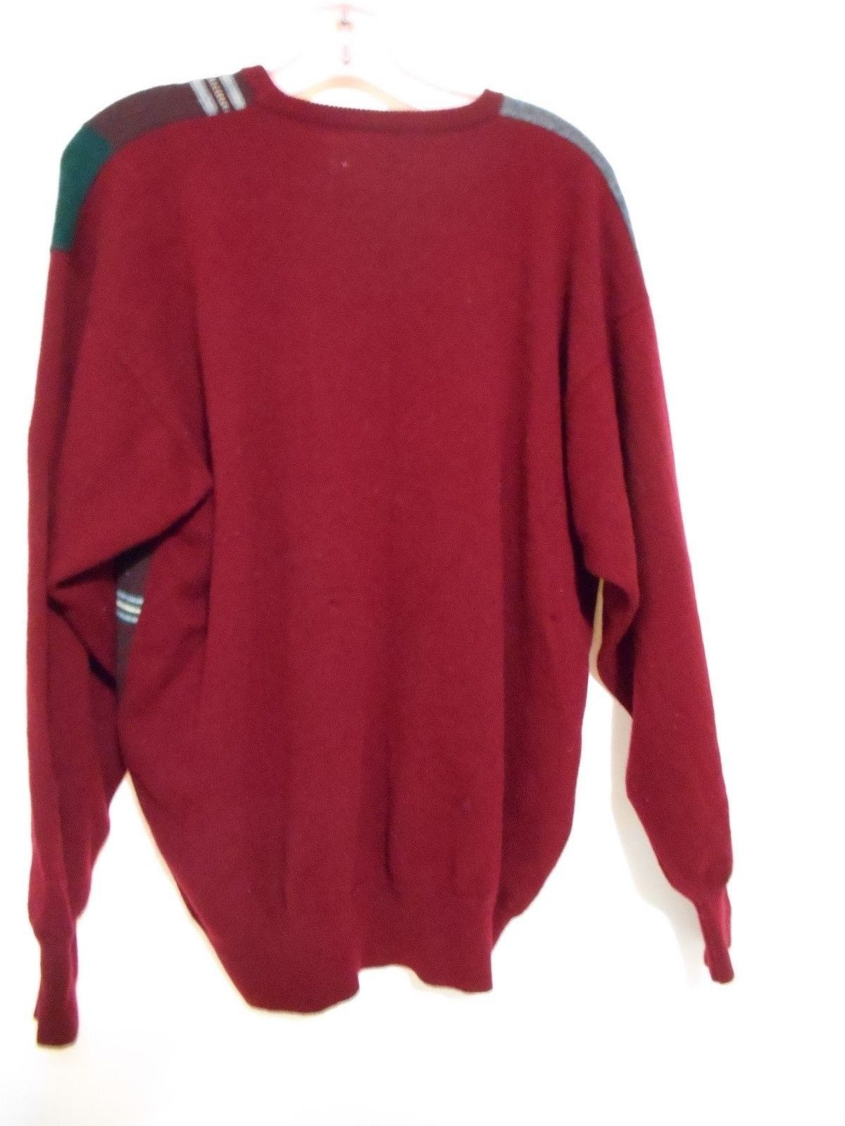 Pringle Sports Red & Gray Wool  Hipster Sweater Size M  Made in Scotland