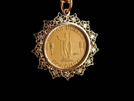 vintage Hawaii Dollar pendant - coin necklace - honeymoon gift - anniver... - $95.00