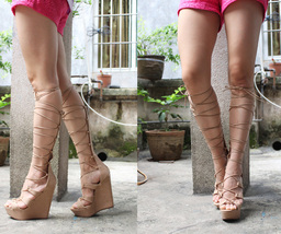PS229 elegant gladiator high wedge sandals,pu suede leather, size 36-42, brown - $68.80