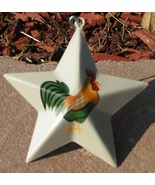OR230- Metal Rooster Star Christmas Ornament  - $1.95