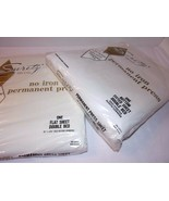 Vtg Combed Percale White Double Flat And Fitted SHEET SET Surety USA 2 O... - $41.53