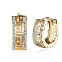 Premier Designs GREEK KEY gold crystal clip earrings RV $35 free ship nwot - $11.75
