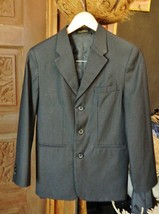 VAN HEUSEN Womens Black Pin Stripe Blazer 3-Button-Pocket Jacket Size 14... - $35.06