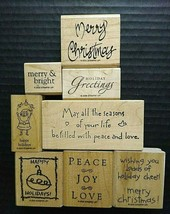 Stampin Up Rubber Stamps Christmas Lot Greetings Sentiments Xmas Holidays - $18.71