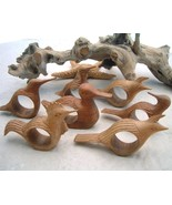 Bird Napkin Rings Hand Carved Wood Philippines Plus Kangaroo - $13.95