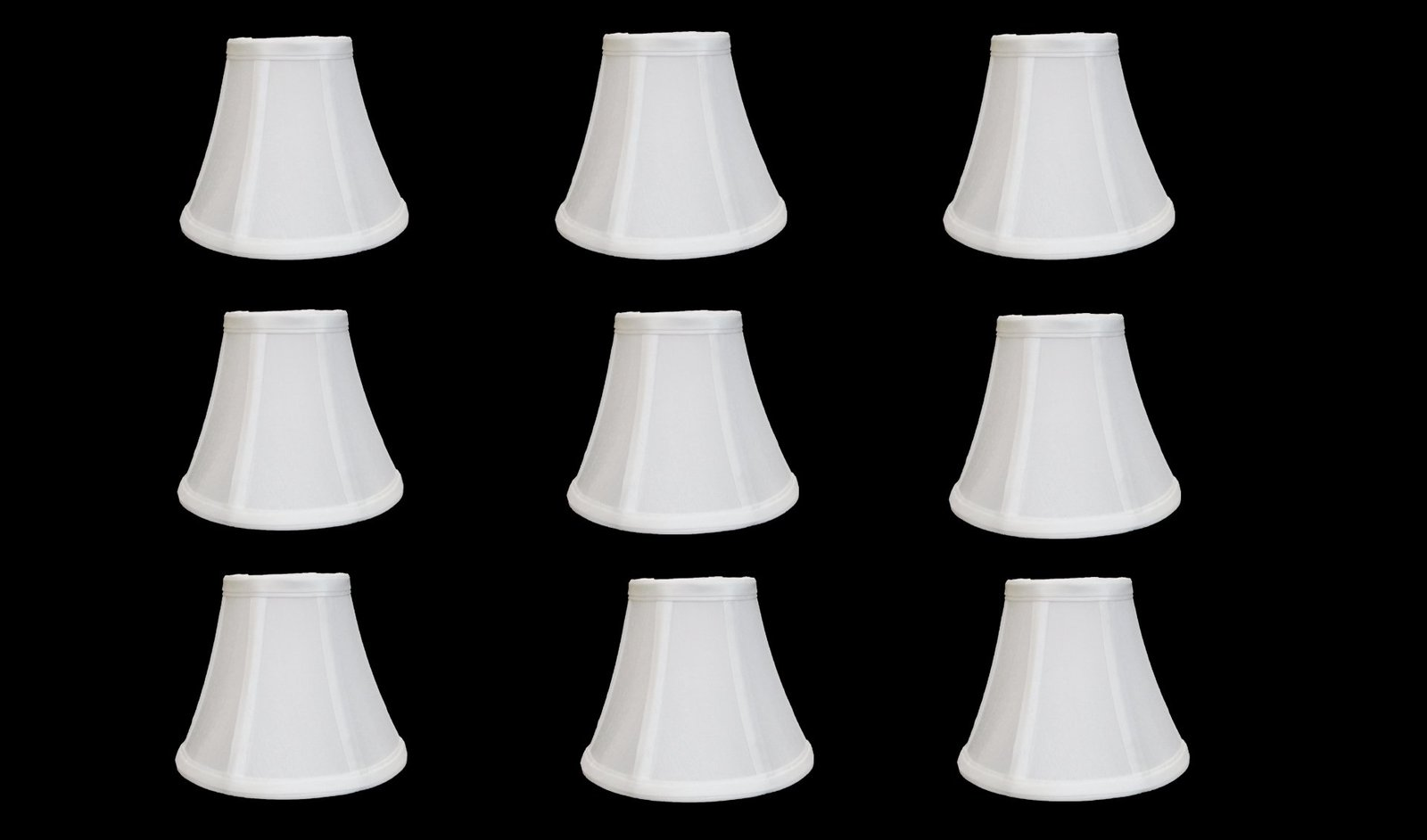 chandelier lamp shades set of 9 soft bell 3 x 6 x 5 whi. Black Bedroom Furniture Sets. Home Design Ideas