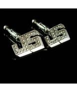 Monogrammed JS Cufflinks Sterling Sparkling marcasites initial letter Vi... - $195.00