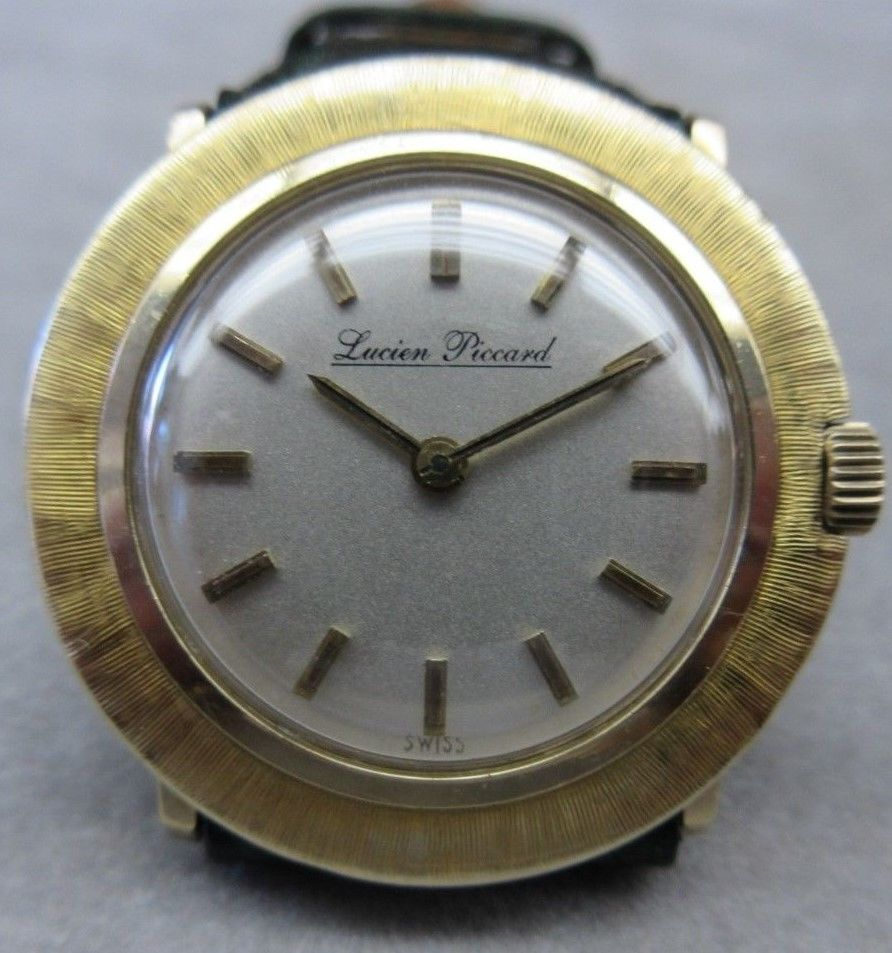VINTAGE LUCIEN PICARD LADIES 14K GOLD WATCH WITH LEATHER BAND