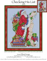 Checking His List JE093 santa cross stitch chart Joan Elliott Designs - $14.00