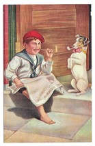 Hitting the Pipe Boy Reading Newspaper Dog Smoking Vintage Postcard - $4.99