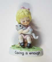 "1974 Josef Originals ""Caring is Enough"" Girl Holding Cat Figurine by Geo... - $11.99"