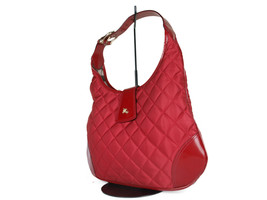 BURBERRY Quilted Nylon Canvas Leather Red Tote Bag BS0461 - $279.00