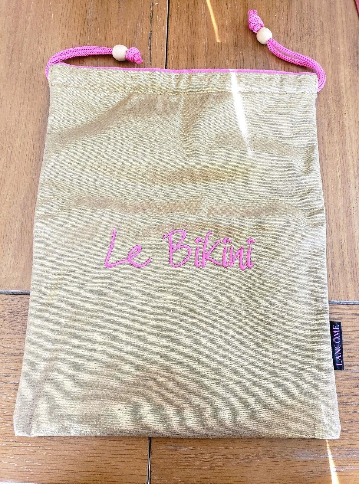 LANCOME Le Bikini Wet Bikini Gold W Pink Vinyl Lined Drawstring Bag. NWOT
