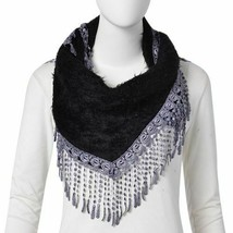 descriptionDesigner Inspired- Black Triangle Scarf with Tassels (Size 1... - $6.44