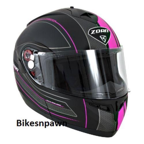New XL Zoan Optimus Black & Pink Raceline Modular Motorcycle Helmet 138-177