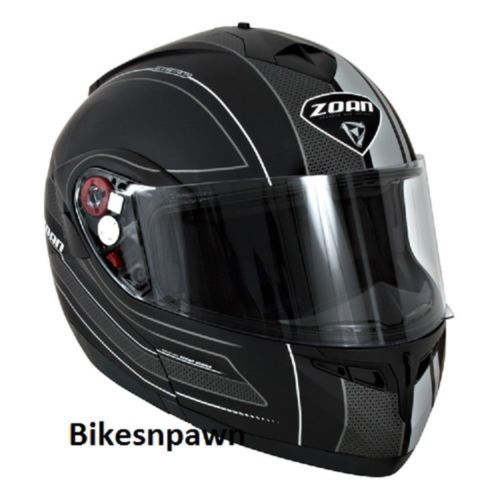 New S Zoan Optimus Black & Silver Raceline Modular Motorcycle Helmet 138-184