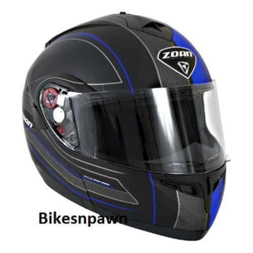 New XS Zoan Optimus Black & Blue Raceline Modular Motorcycle Helmet 138-113