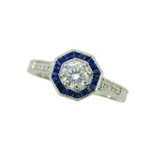 14k White Gold 1/2ct Genuine Natural Diamond Ring with Sapphire Halo (#J... - $1,925.00