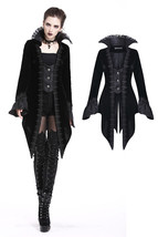 Victorian Vampire Jacket Lace Stand Up Collar Black Velvet Tailcoat Spri... - $80.97
