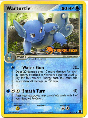 Wartortle 50/112 Prerelease EX Fire Red Leaf Green Pokemon Card Mint
