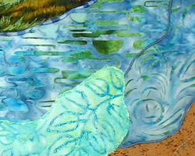Flowers in the Stream: Quilted Art Wall Hanging