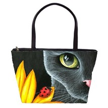 Classic Shoulder Handbag Purse Bag black Cat 510 Ladybug art painting L.... - $41.99