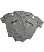 Infant Twin Boys Drinkin' Buddies Gray Short Sleeve One Piece Bodysuit S... - $25.95