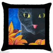 Black Throw Pillow Case from Art painting Cat 551 ladybug by L.Dumas - €20,39 EUR