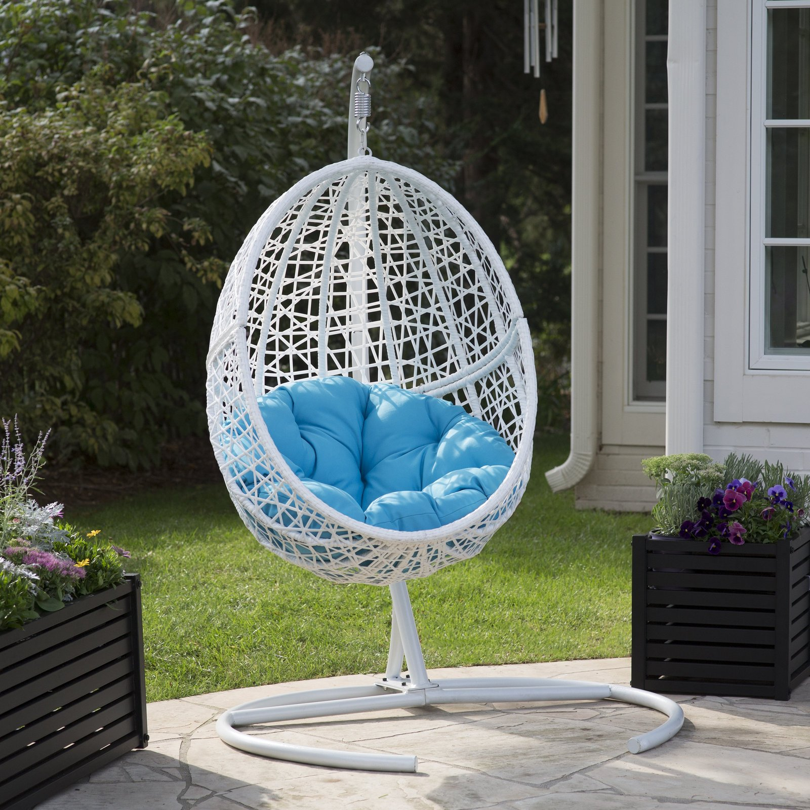 Egg Swing Chair Hanging Stand Pool Cushion Deck Patio Seat ...