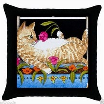 Black Throw Pillow case from Art painting Cat 451 by L.Dumas - $24.99