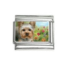 Italian charm 9mm silver Dog 117 Yorkshire Terrier from art painting L.D... - $5.99