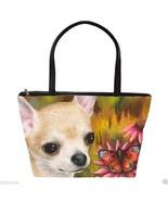 Classic Shoulder Handbag Purse Bag Dog 85 Chihuahua art painting L.Dumas - $41.99